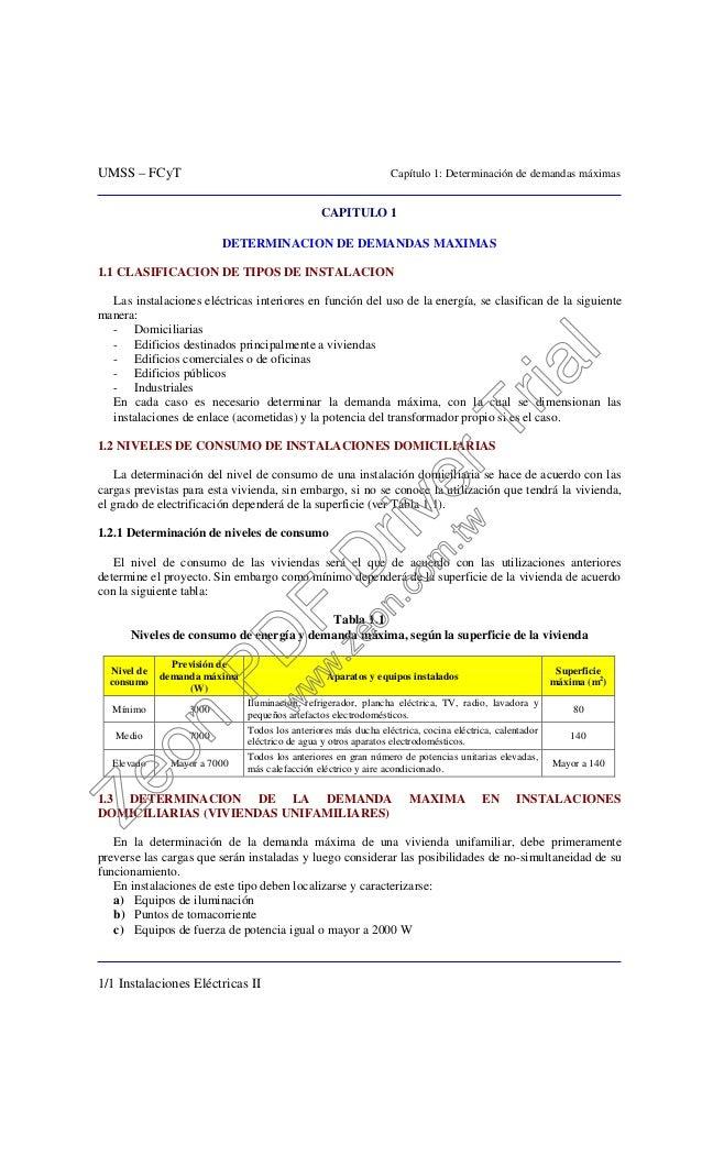 UMSS – FCyT Capítulo 1: Determinación de demandas máximas 1/1 Instalaciones Eléctricas II CAPITULO 1 DETERMINACION DE DEMA...