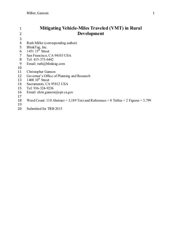 Miller,  Ganson      1   Mitigating Vehicle-Miles Traveled (VMT) in Rural1   Development2   3   Ruth Miller ...