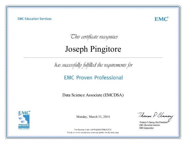Data Science Associate Emcdsa Certificate
