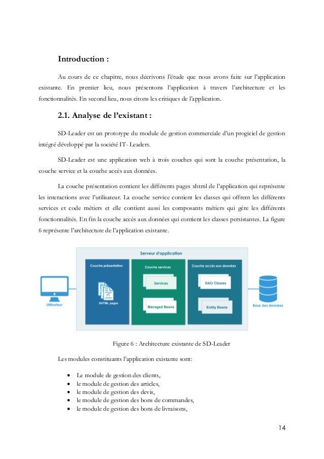 14 Introduction : Au cours de ce chapitre, nous décrivons l'étude que nous avons faite sur l'application existante. En pre...