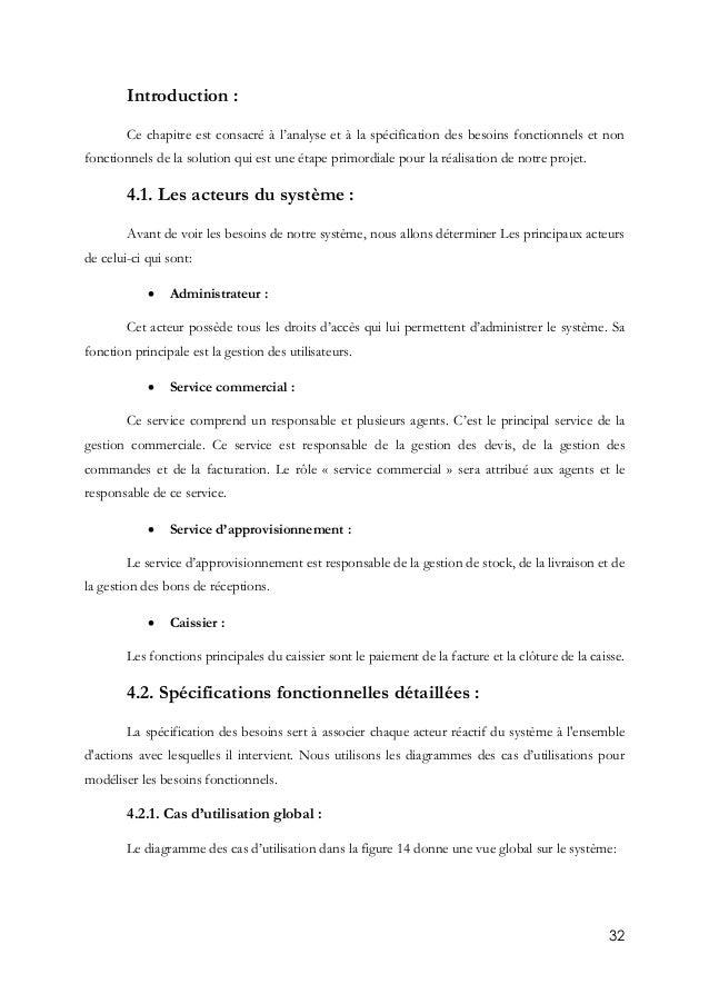 32 Introduction : Ce chapitre est consacré à l'analyse et à la spécification des besoins fonctionnels et non fonctionnels ...