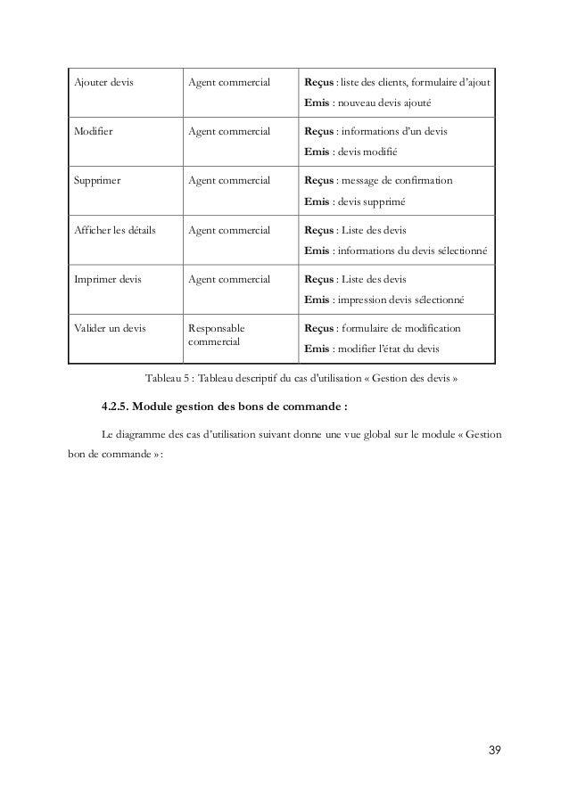 39 Ajouter devis Agent commercial Reçus : liste des clients, formulaire d'ajout Emis : nouveau devis ajouté Modifier Agent...