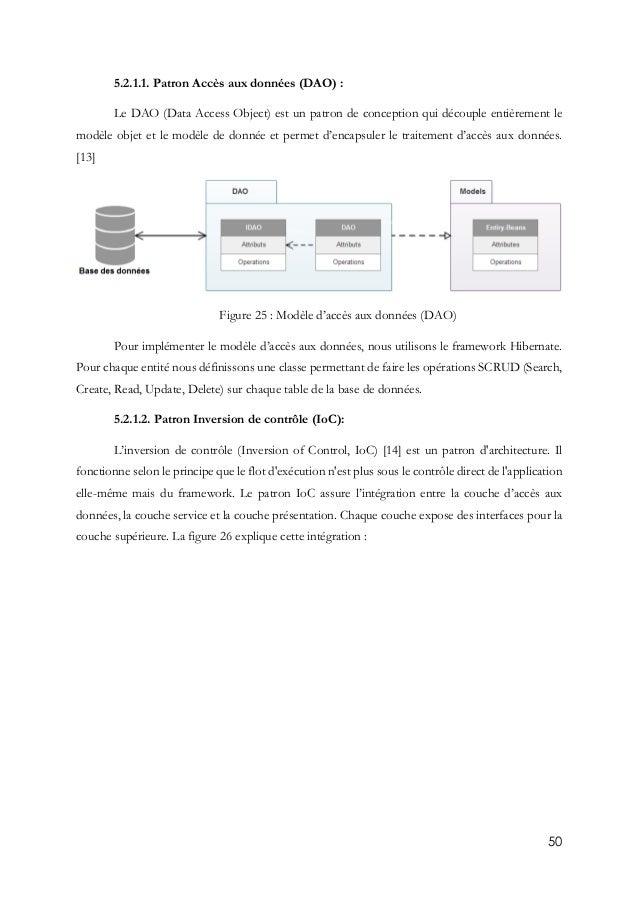50 5.2.1.1. Patron Accès aux données (DAO) : Le DAO (Data Access Object) est un patron de conception qui découple entièrem...