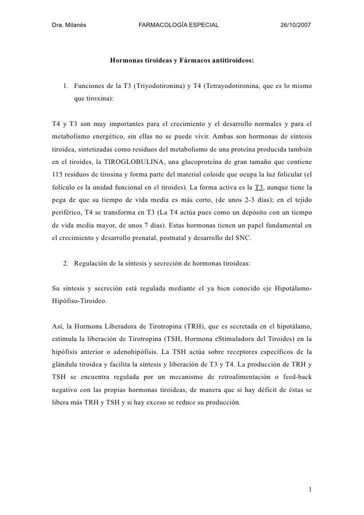 Dra. Milanés                 FARMACOLOGÍA ESPECIAL                             26/10/2007                          Hormona...