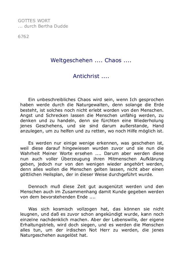 GOTTES WORT  ... durch Bertha Dudde  6762  Weltgeschehen .... Chaos ....  Antichrist ....  Ein unbeschreibliches Chaos wir...