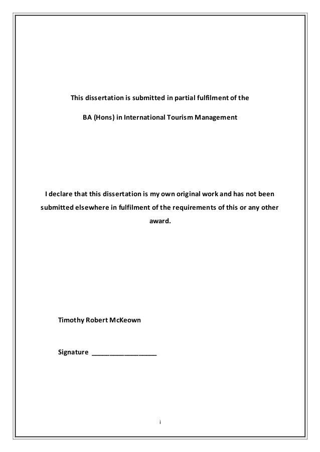 undergraduate dissertation requirements
