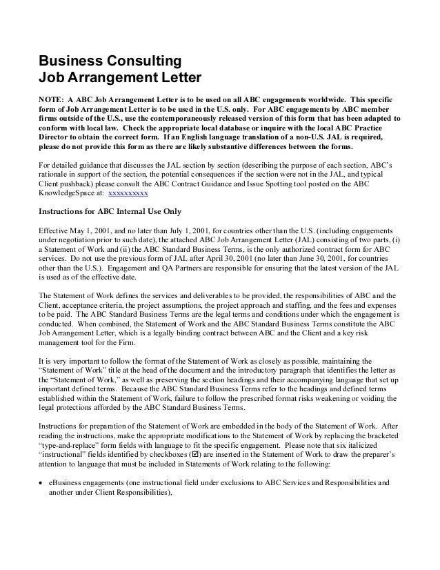 Sample consulting engagement letter for Letter of engagement consulting template