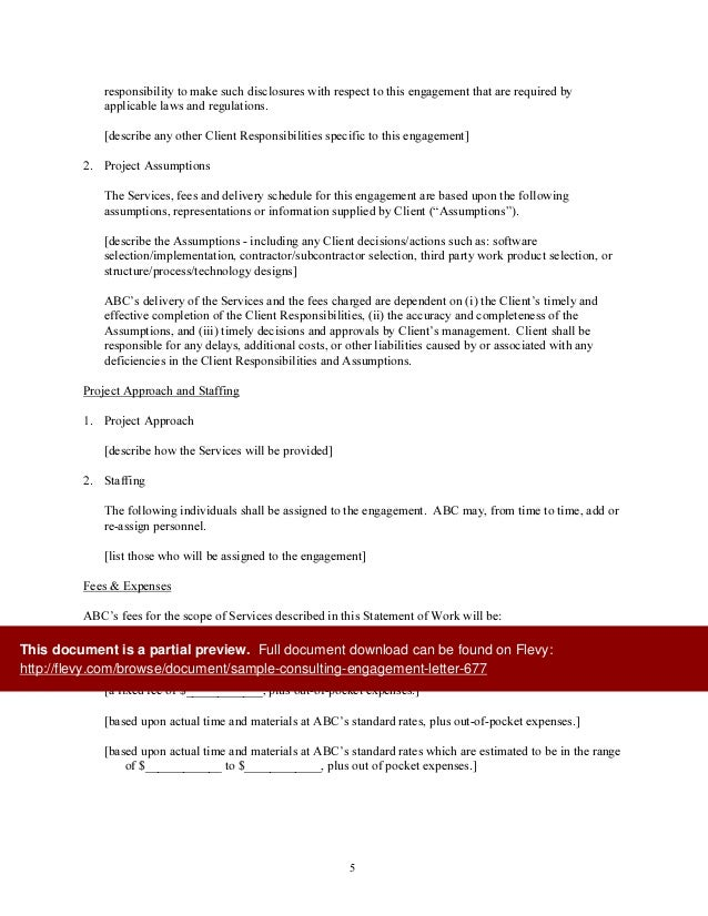 Sample Consulting Engagement Letter – Letter of Engagement Template Free