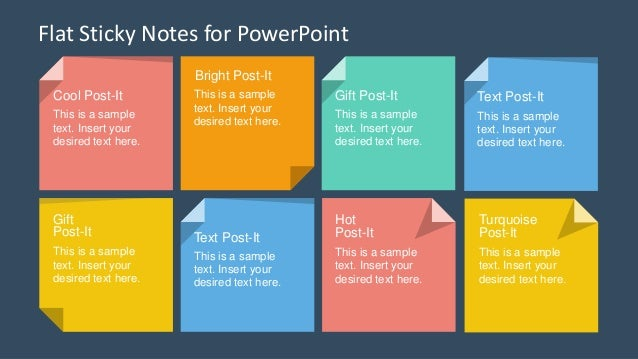 slidemodel - flat sticky notes powerpoint template, Modern powerpoint