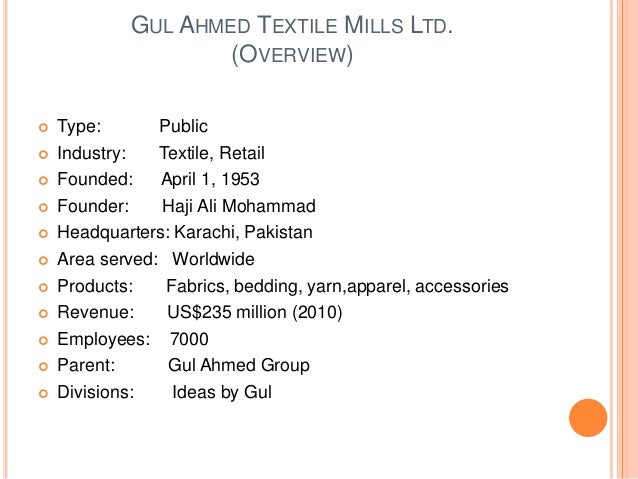 gul ahmed textile mills company profile