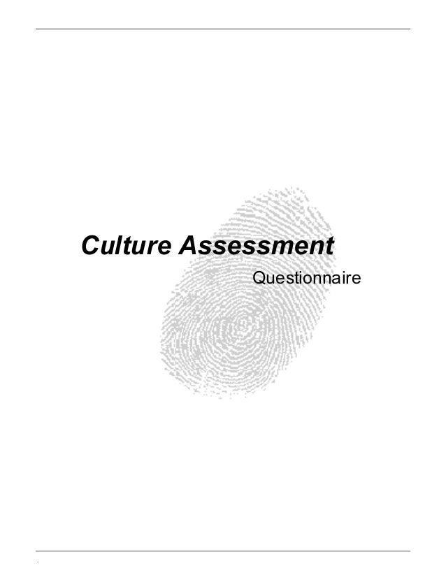. Culture Assessment Questionnaire