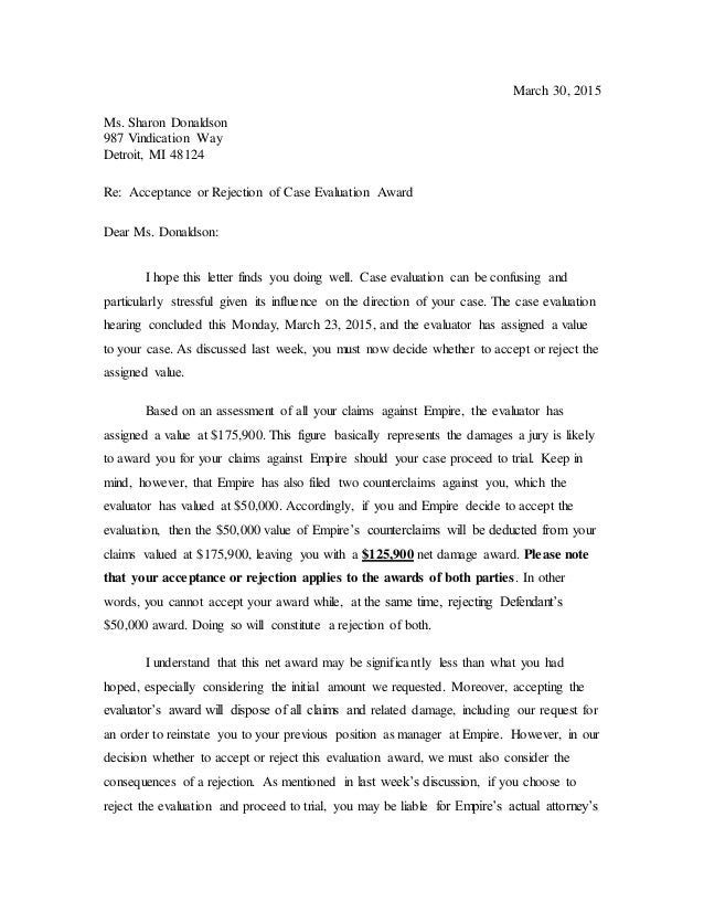 Letter to donaldson case evaluation settlement for Acceptance for value template