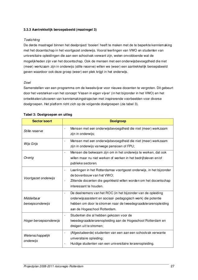 Projectplan 2008-2011 risicoregio Rotterdam 27 3.3.3 Aantrekkelijk beroepsbeeld (maatregel 3) Toelichting De derde maatreg...