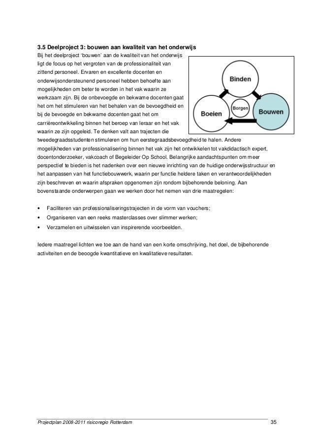 Projectplan 2008-2011 risicoregio Rotterdam 35 3.5 Deelproject 3: bouwen aan kwaliteit van het onderwijs Bij het deelproje...