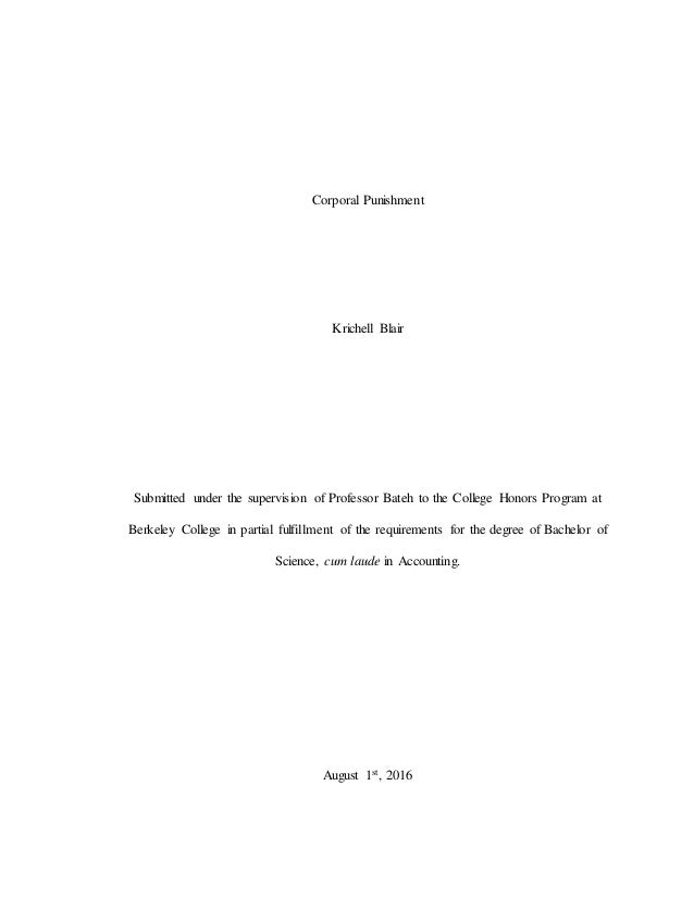 Corporal punishment dissertation kiernan