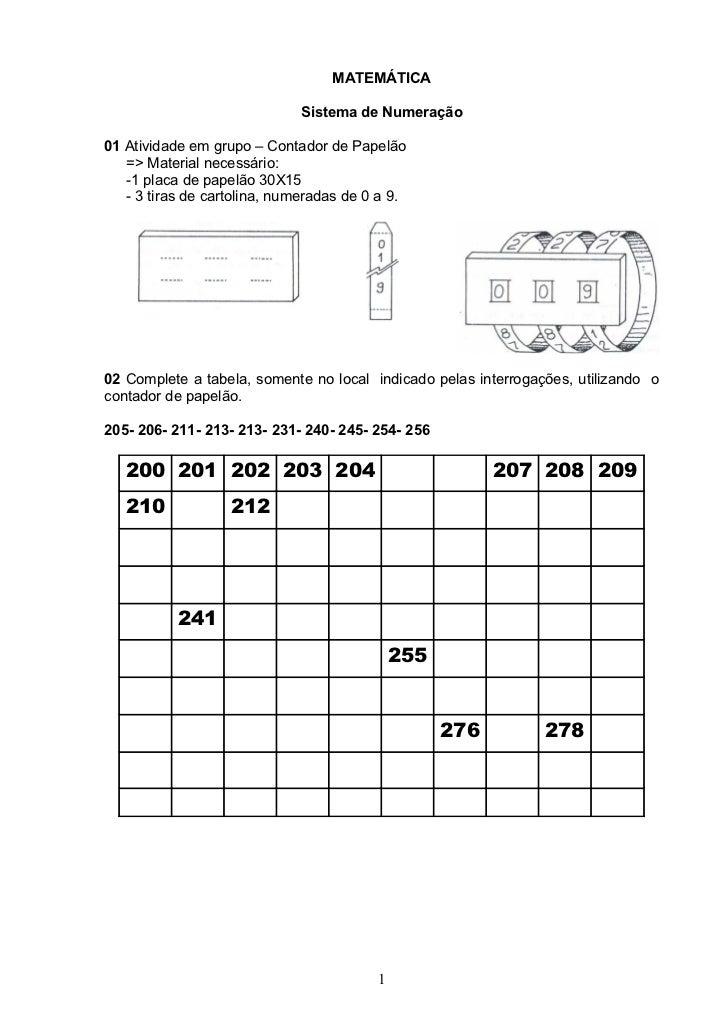 MATEMÁTICA                             Sistema de Numeração01 Atividade em grupo – Contador de Papelão   => Material neces...