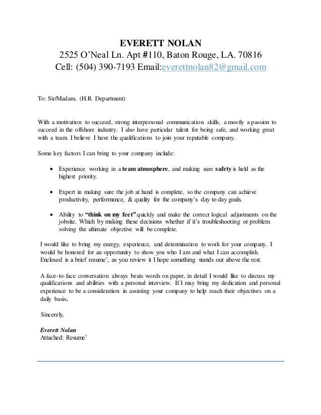 Everett Nolan Cover Letter & Resume 2016