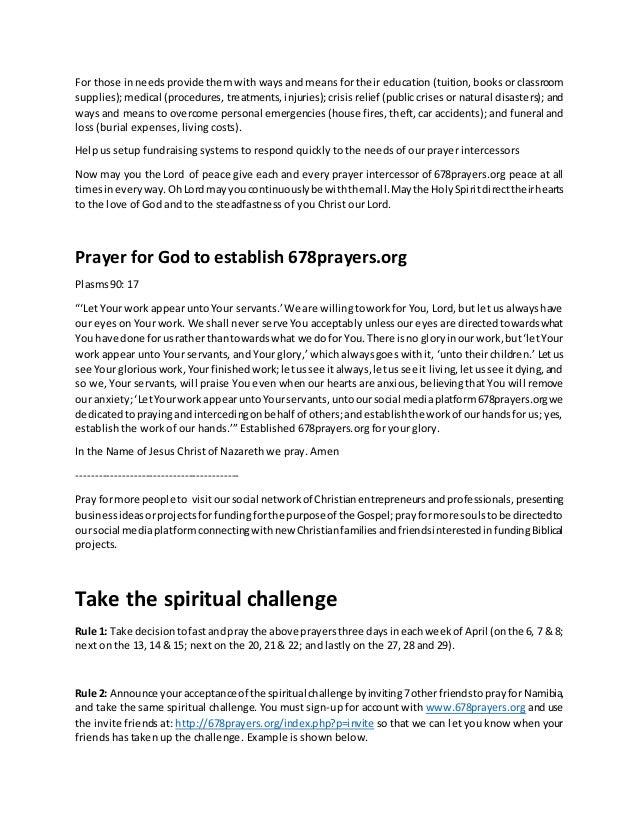 Prayer Script for April 2014 prayer challenge for namibia
