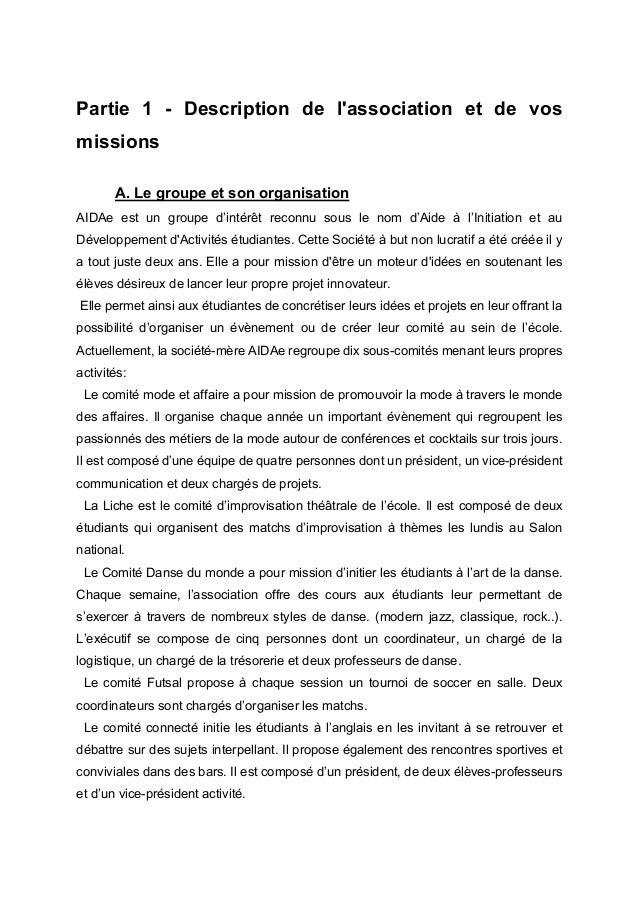 Partie  1  -  Description  de  l'association  et  de  vos  missions    A. Le groupe et son organisation...