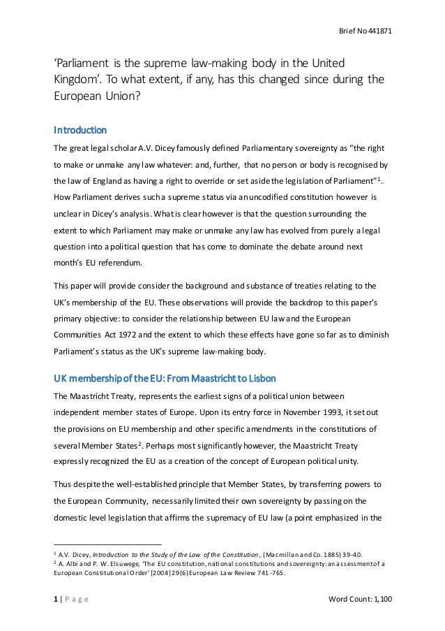 parliamentary sovereignty essay questions