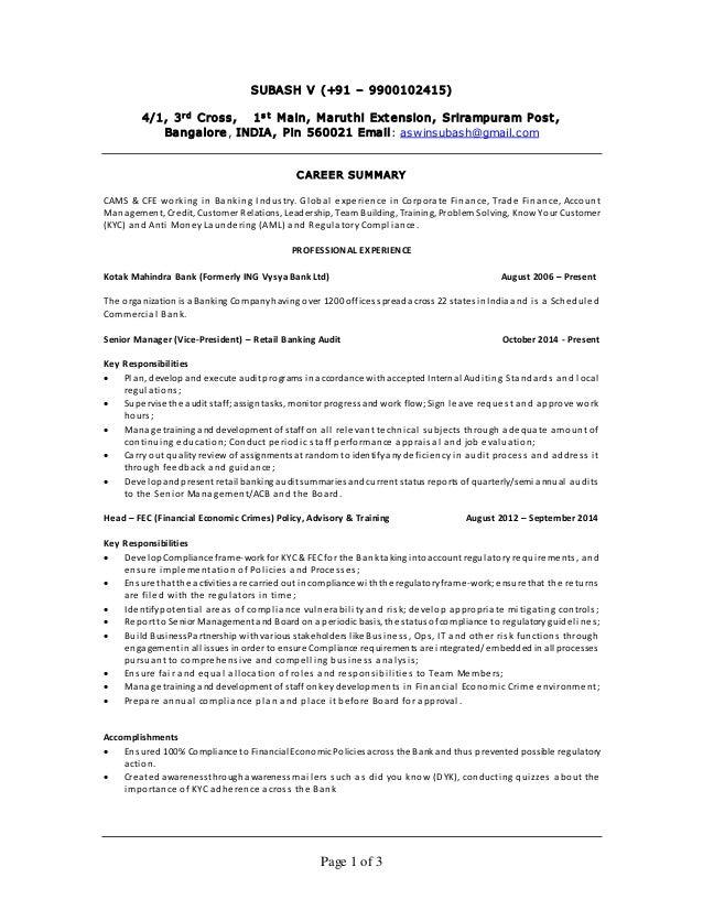 Page 1 of 3 SUBASH V (+91 – 9900102415) 4/1, 3rd Cross, 1s t Main, Maruthi Extension, Srirampuram Post, Bangalore, INDIA, ...
