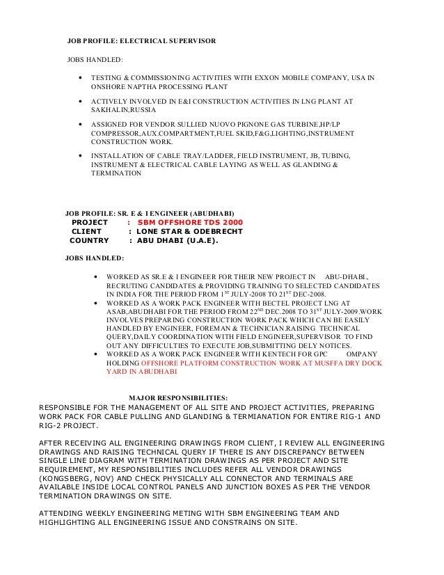 Receiving Supervisor Jobs standards Job Profile Electrical Supervisor