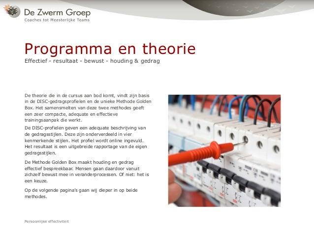 De theorie die in de cursus aan bod komt, vindt zijn basis in de DISC-gedragsprofielen en de unieke Methode Golden Box. He...