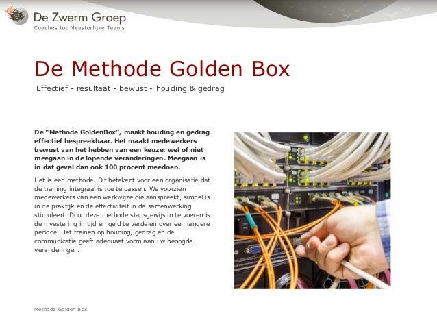 """Methode Golden Box De """"Methode GoldenBox"""", maakt houding en gedrag effectief bespreekbaar. Het maakt medewerkers bewust va..."""