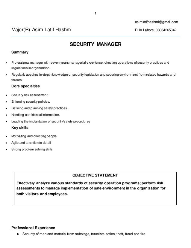 security manager cv - Yeni.mescale.co