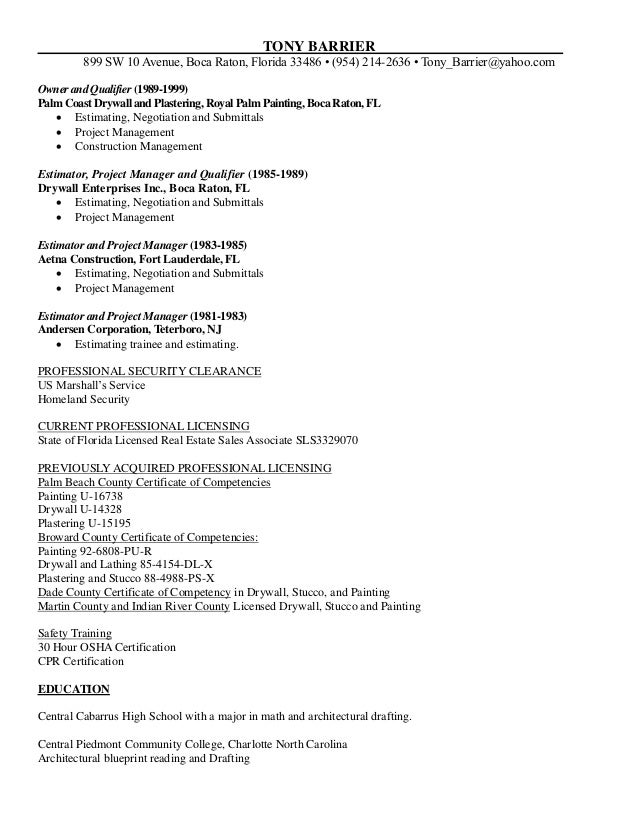 tony barrier resume 7 7 2015