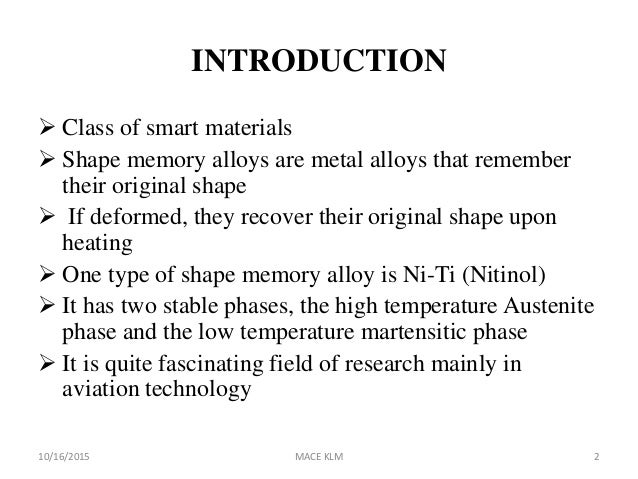 SHAPE MEMORY ALLOY