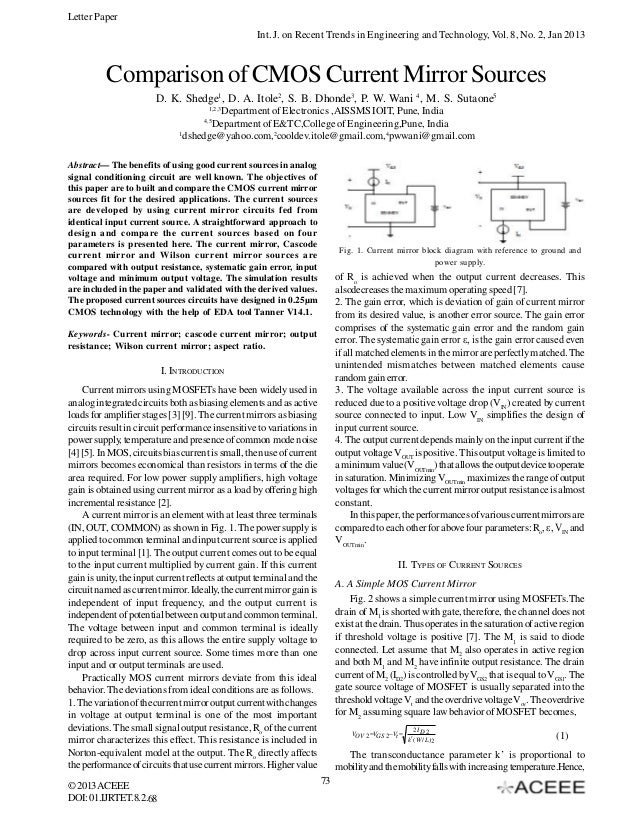Letter Paper Int. J. on Recent Trends in Engineering and Technology, Vol. 8, No. 2, Jan 2013  Comparison of CMOS Current M...