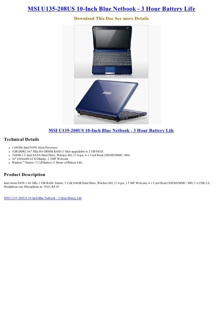 MSI U135-208US 10-Inch Blue Netbook - 3 Hour Battery Life                                                    Download This...