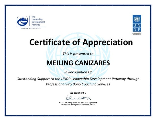Certificate Of Appreciation This Is Presented To MEILING CANIZARES In  Recognition Of Outstanding Support To The