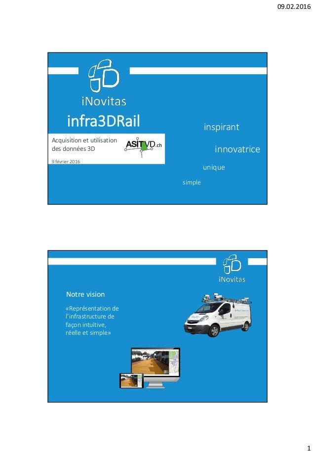 09.02.2016 1 infra3DRail unique simple innovatrice inspirant Acquisition et utilisation des données 3D 9 février 2016 Notr...