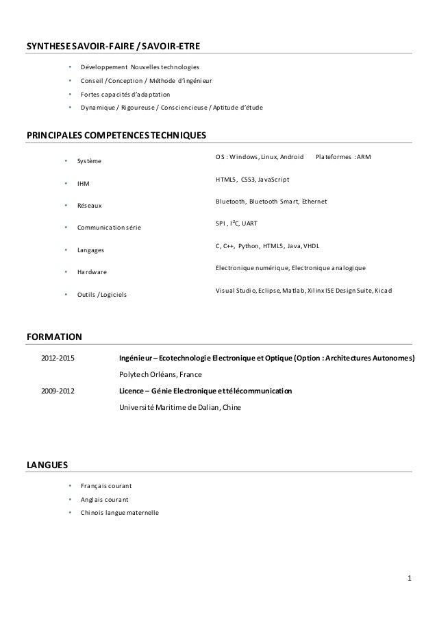 1 SYNTHESESAVOIR-FAIRE/SAVOIR-ETRE  Développement Nouvelles technologies  Conseil / Conception / Méthode d'ingénieur  F...