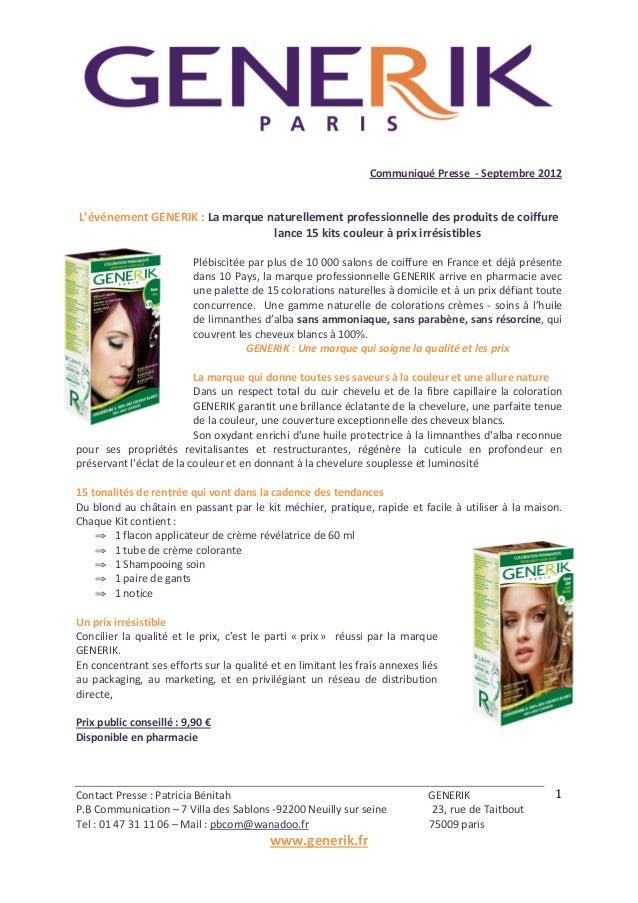 Contact  Presse  :  Patricia  Bénitah                                   ...