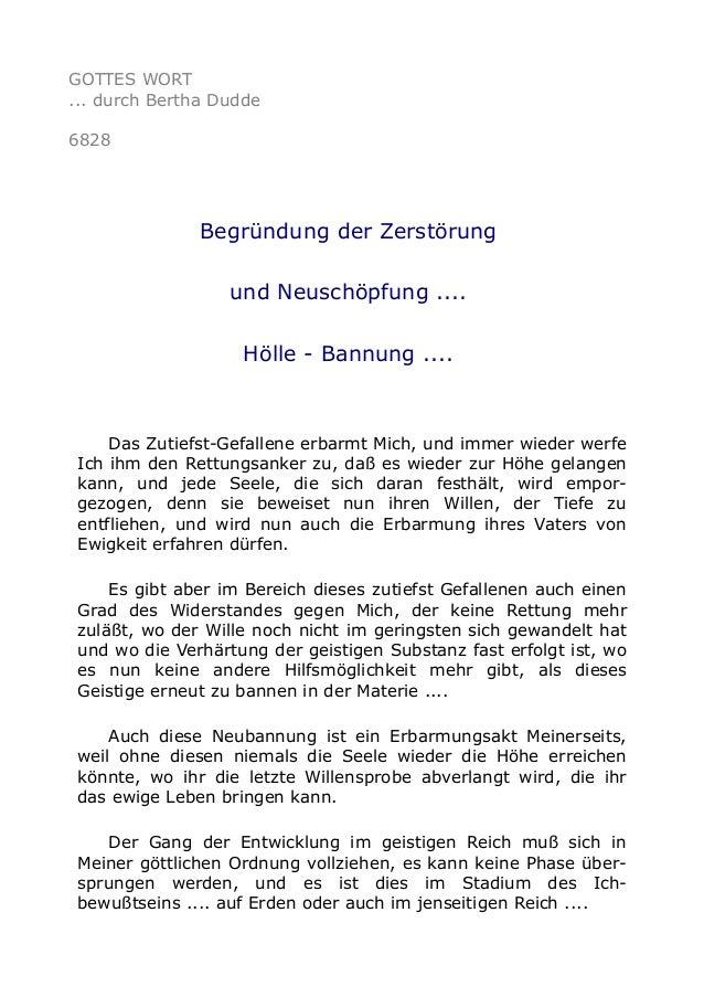GOTTES WORT  ... durch Bertha Dudde  6828  Begründung der Zerstörung  und Neuschöpfung ....  Hölle - Bannung ....  Das Zut...