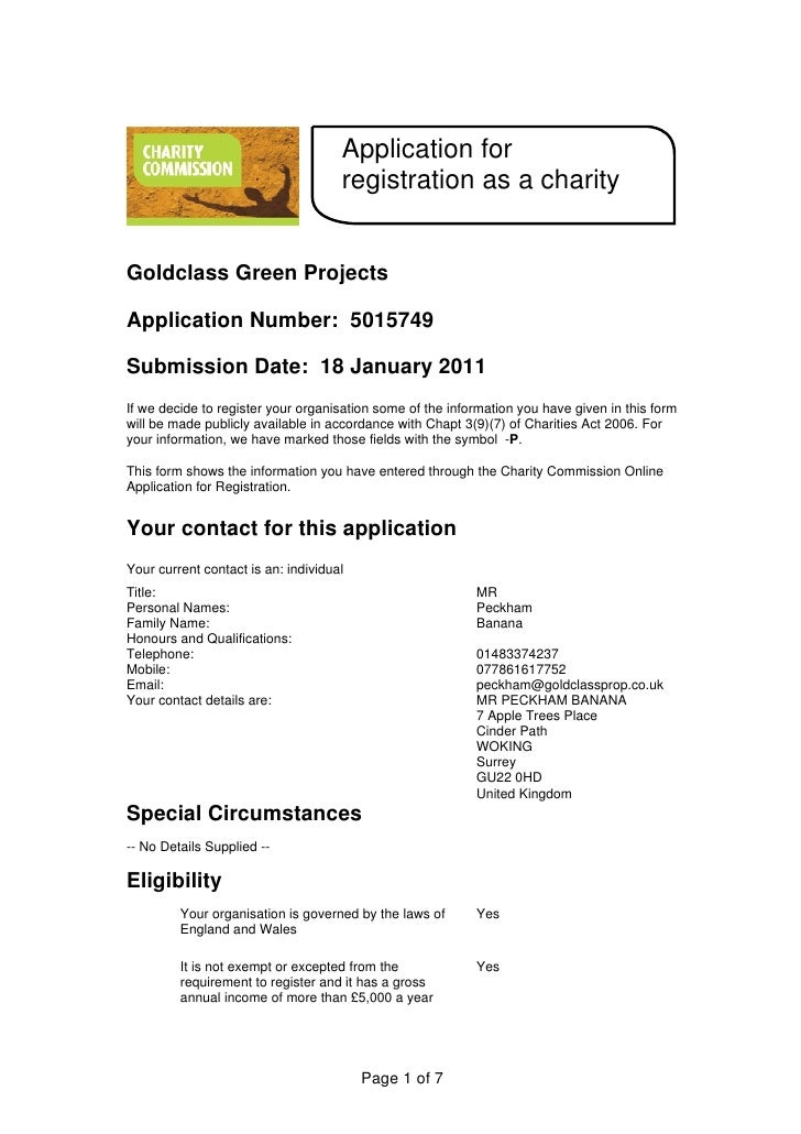 Application for                                     registration as a charityGoldclass Green ProjectsApplication Number: 5...