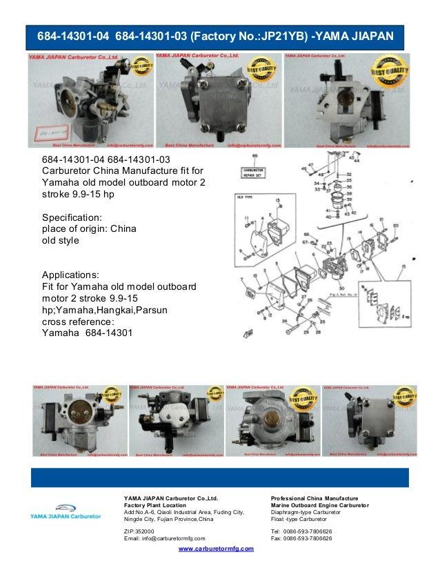 684-14301-04 684-14301-03 (Factory No.:JP21YB) -YAMA JIAPAN www.carburetormfg.com YAMA JIAPAN Carburetor Co.,Ltd. Professi...