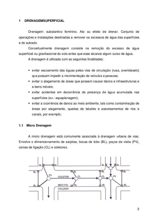 2  1 DRENAGEMSUPERFICIAL  Drenagem: substantivo feminino. Ato ou efeito de drenar. Conjunto de  operações e instalações de...