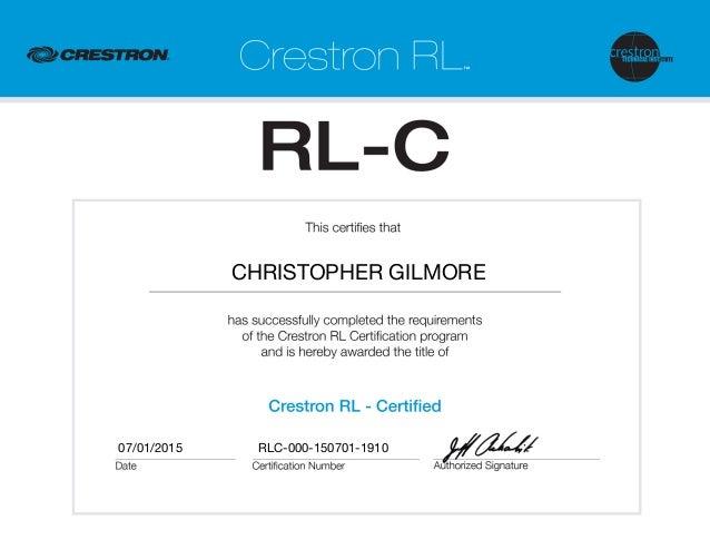 Crestron RL Certification RLC-000-150701-1910