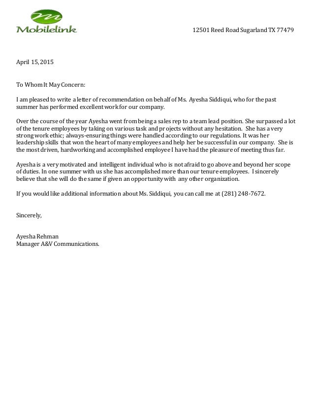 recommendation letter of employee