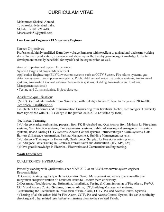 sample resume for one year experienced software engineer - elv engineer resume