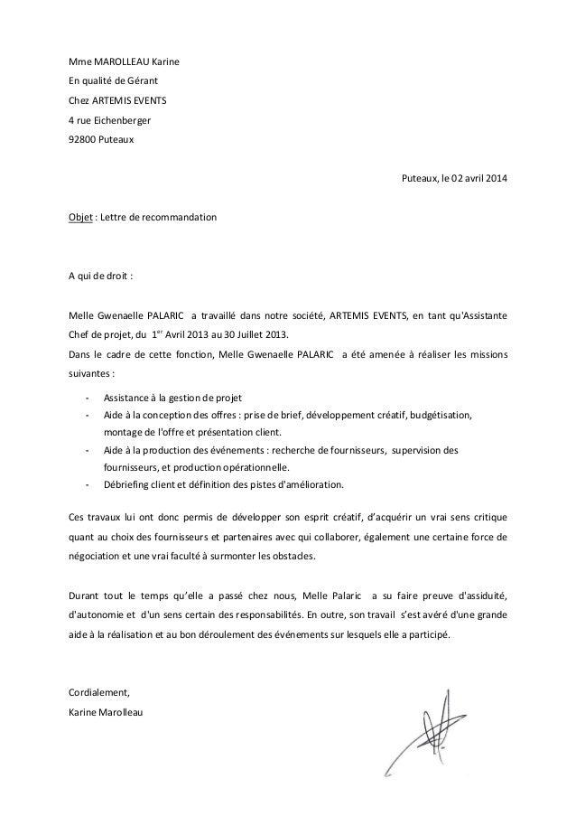 lettre de recommandation client fournisseur Lettre de recommandation Artemis event lettre de recommandation client fournisseur