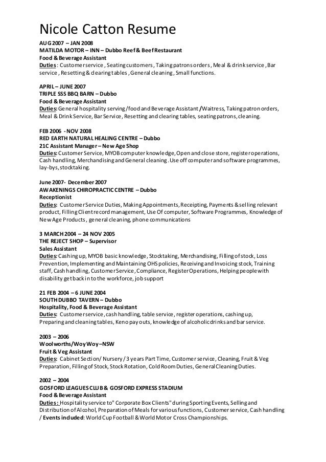 Nicks Sales Assistant Resume July 2015