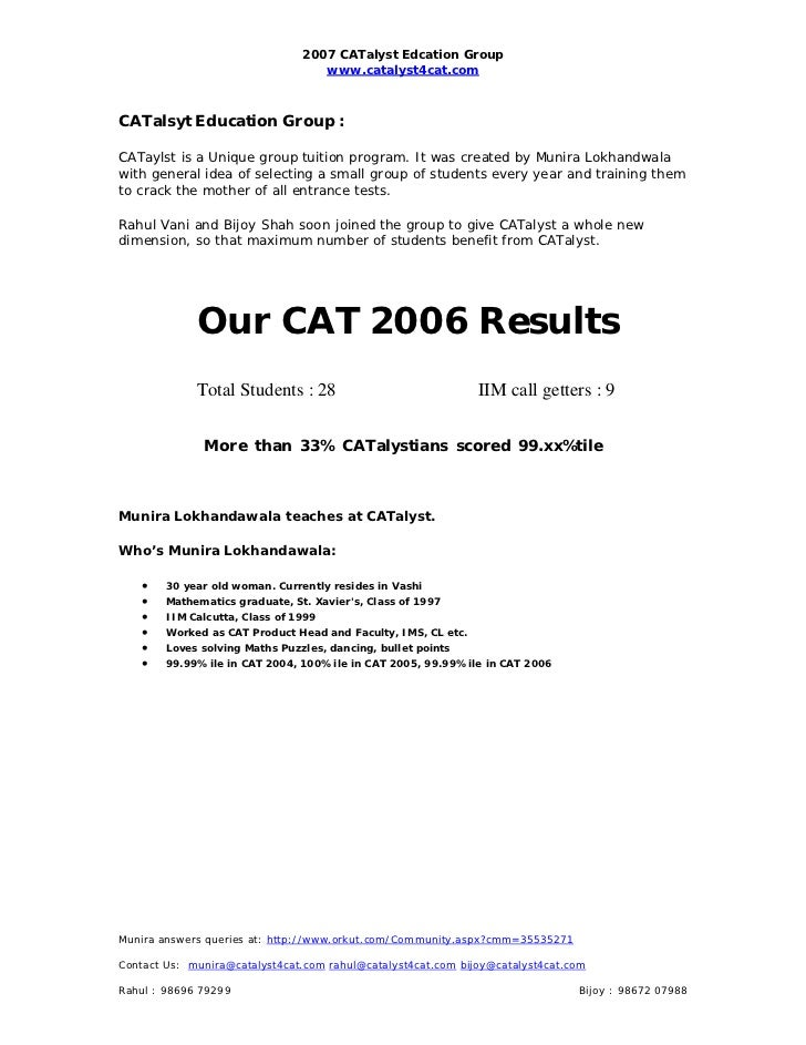2007 CATalyst Edcation Group                                   www.catalyst4cat.comCATalsyt Education Group :CATaylst is a...
