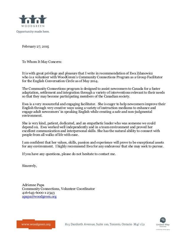 recommendation letter for ewa zdanowicz