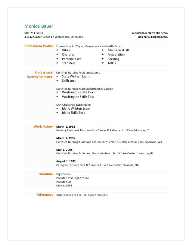 My Resume Mlb Cna
