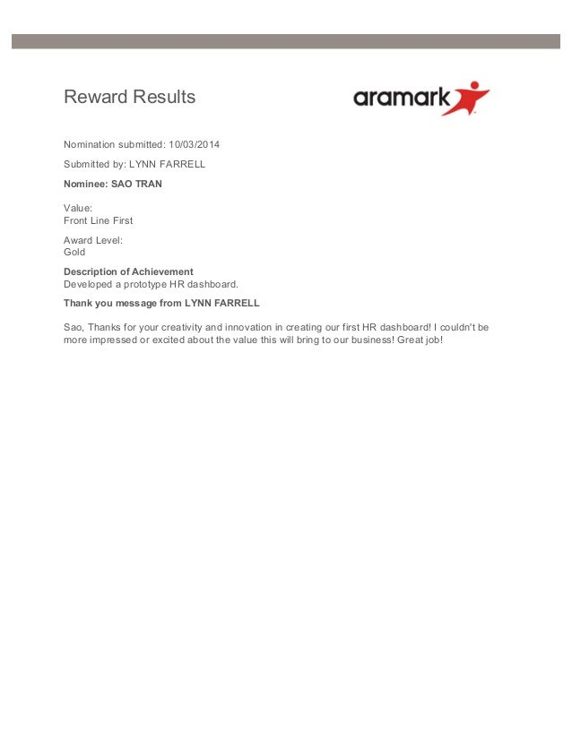 Awards And Achievements At Aramark